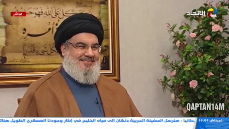 Hassan Nasrallah during the interview (al-Manar, July 12, 2019, uploaded to the QAPTAN14M YouTube channel).