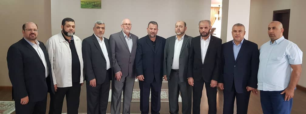 The Hamas delegation in Iran. Left to right, Khaled al-Qadoumi, Hamas representative in Tehran; Usama Hamdan, Izzat al-Rishq, Maher Salah, Saleh al-'Arouri, Musa Abu Marzouq, Husam Badran, Isma'il Radwan and Zaher Jabarin (Hamas website, July 21, 2019).