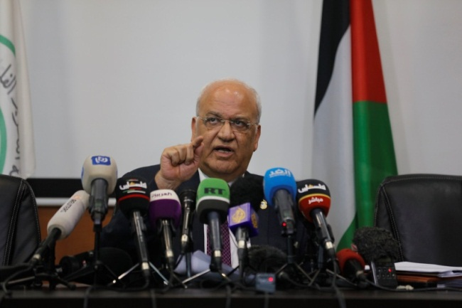 Saeb Erekat holds a press conference (Wafa, July 22, 2019).