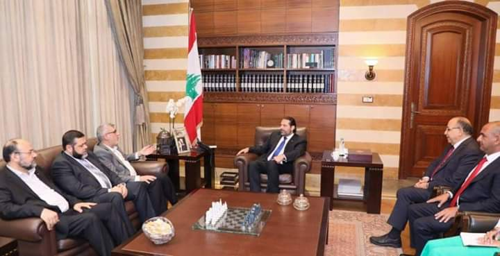 The Hamas delegation meets with the Lebanese prime minister (al-Quds TV Twitter account, July 19, 2019).