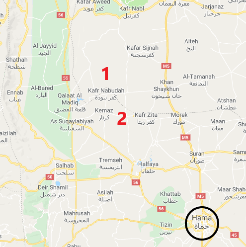 The village of Al-Qasabiya (1) and Hamamiyat (2), northwest of Hama: rebel attempts to take over Syrian army positions there failed (Google Maps)