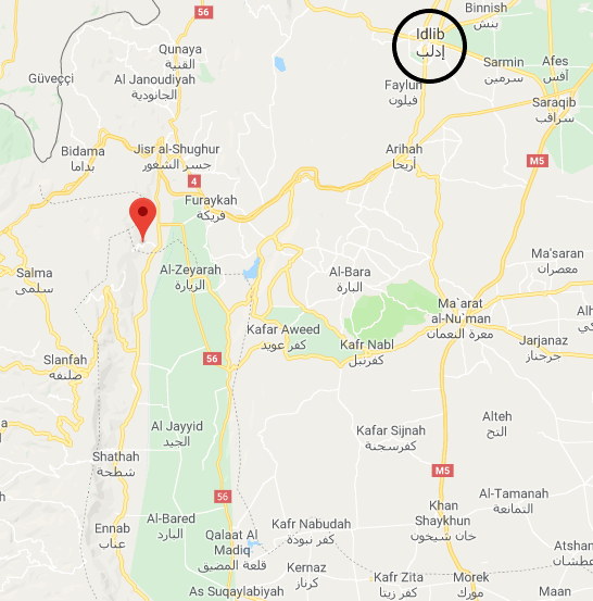 Sirmaniya, a village which the Syrian army unsuccessfully attempted to take over (Google Maps)