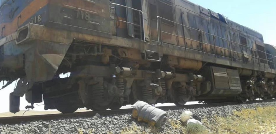 The freight train locomotive which was hit by an (ISIS's) IED (Syrian Ministry of Transport, July 21, 2019)