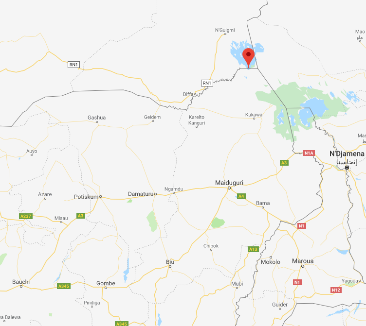 The site where ISIS fired mortar shells, near the border between Nigeria and Niger (Google Maps)