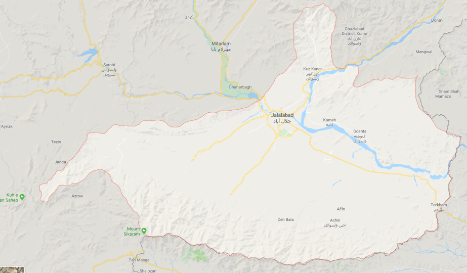 The Nangarhar Province, where battles are being waged between ISIS and Taliban operatives (Google Maps)