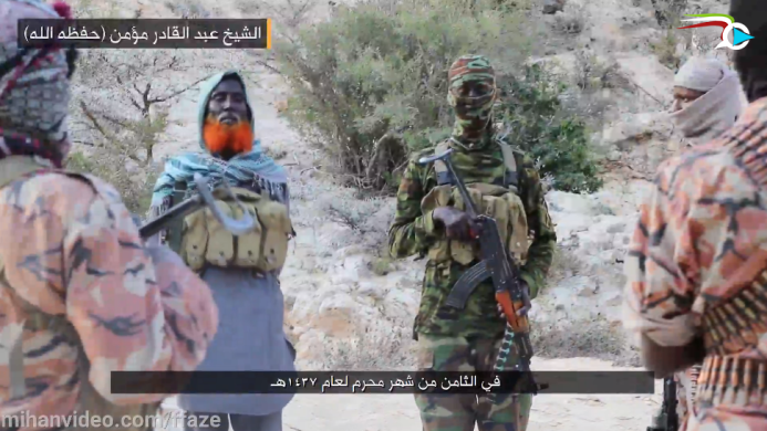 The speaker, codenamed Sheikh Abd al-Qader Mu'min, speaking to operatives of ISIS's Somalia Province.