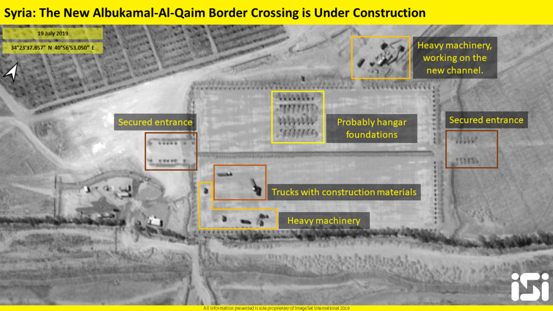 The construction of the new border crossing between Syria and Iraq (satellite image analysis and interpretation, iSi, July 19, 2019).