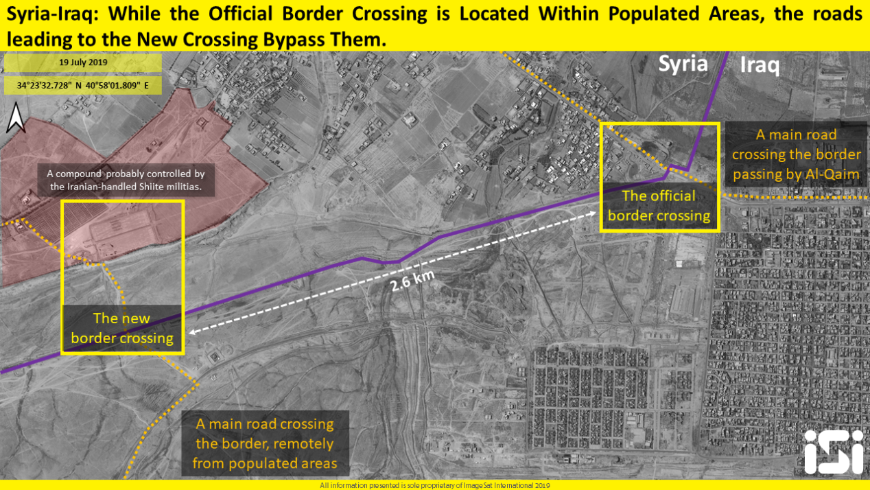 The location of the new border crossing at Albukamal, farther from residential buildings (satellite image analysis and interpretation, iSi)