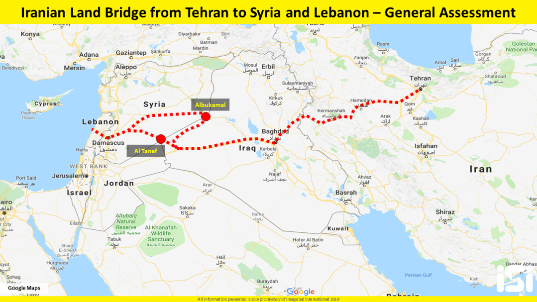 The land bridge from Iran to Syria and from Syria to Lebanon though the Albukamal border crossing (iSi map). For the Iranians, using the shorter route through the al-Tanef Crossing is currently not practical because of the presence of American forces and rebel organizations operating under American aegis.