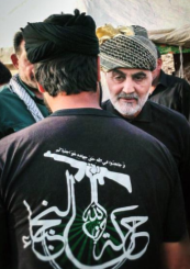 Qassem Soleimani, commander of the Iranian Revolutionary Guards Corps' Qods Force, with an operative from the Movement of the Noble Ones (harakat al-nujaba) during the conquest of Albukamal (Enab Baladi, November 17, 2017).