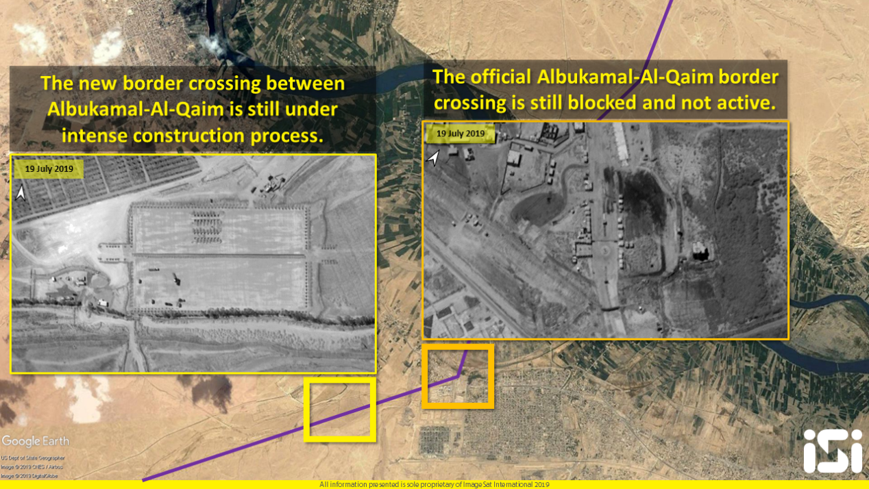 The intensive construction at the new border crossing (left) and the lack of activity at the old crossing (right) (satellite image analysis and interpretation, iSi).