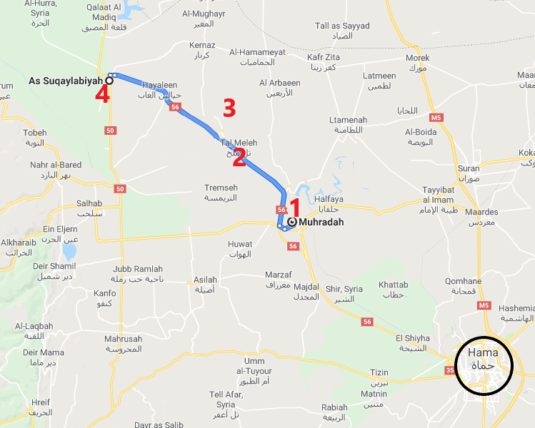 Segment of Road 56 between the cities of Muhradah (1) and Al-Suqaylabiyah (4). The villages of Tal Mileh (2) and Al-Jebeen (3), taken over by the Syrian army, are situated near the road (Google Maps)