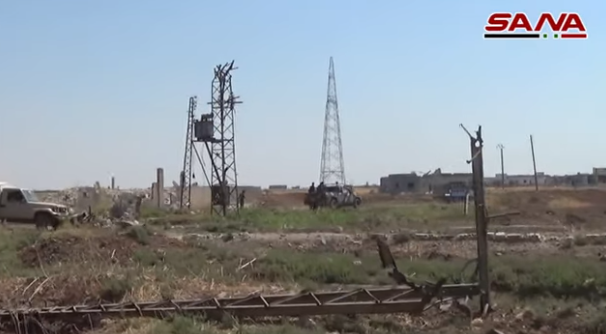 Syrian army vehicles patrolling Tal Mileh after it was retaken (SANA, July 29, 2019).