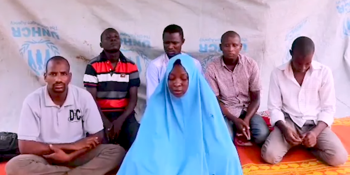 The six abductees in a video disseminated online (RootsTV Nigeria, July 25, 2019).