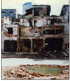 The façade of the AMIA building after the bombing.