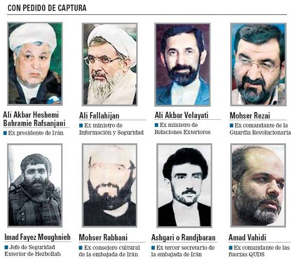 Seven senior Iranian officials and one senior Hezbollah operative for whom Argentina requested international arrest warrants. The bottom left picture is Imad Mughnieh, who was responsible for Hezbollah's military-terrorist wing.