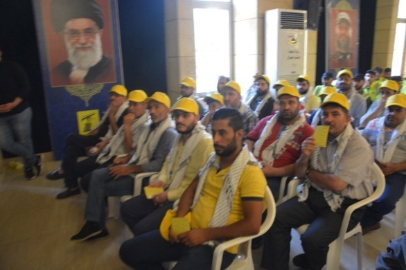 Apparently, members of Hezbollah's ballot committees in the 2018 elections for the Lebanese Parliament (Facebook page of the Rassed network, June 28, 2019). Pictures of Iranian Supreme Leader Ali Khamenei and Imad Mughniyeh are seen in the background.