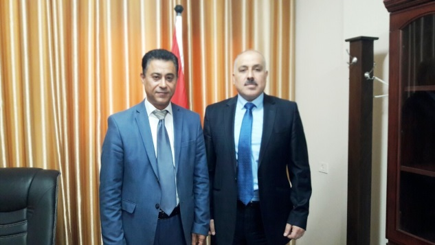 Ceremony of changing positions in the Hamas national ministry of economics. Dr. Rushdi Wadi (left) replaces Dr. Ayman 'Abed (right) as deputy minister (website of the national ministry of economics in the Gaza Strip, August 2, 2019; palsawa, August 1, 2019).