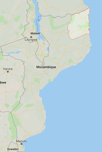Cabo Delgado Province, northeastern Mozambique (marked in red) (Google Maps)