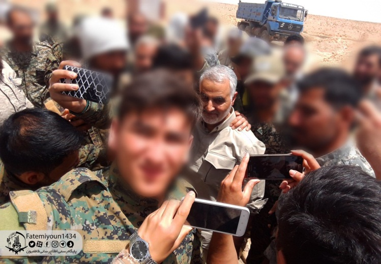Qasem Soleimani along with fighters of the Fatimiyoun Brigade (Official Telegram channel of the militia, July 29, 2019).