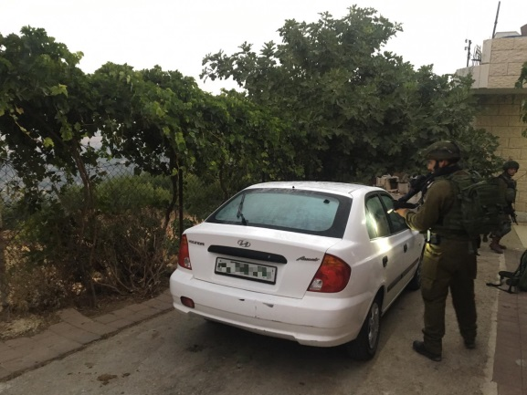 The vehicle used by the suspected in the killing of Dvir Soreq (IDF spokesman, August 8, 2019).