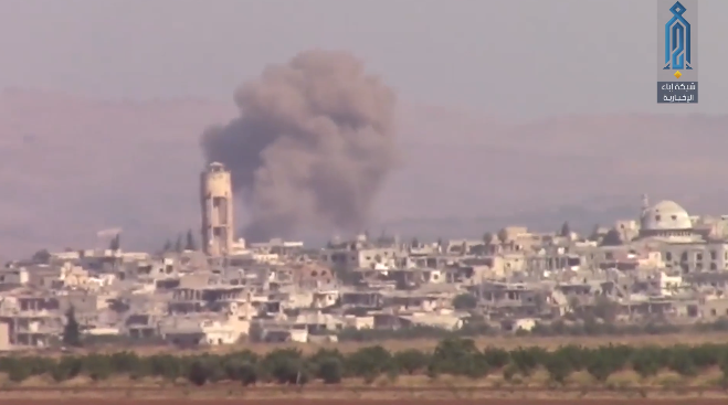 Cloud of dust rising from Kafrzeita after a Russian airstrike (Ibaa, August 11, 2019)