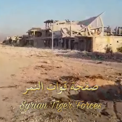 Ruined buildings in Hobait (from a video originally released by the Tiger forces under the command of Col. Suheil Hassan, Muraselon, August 11, 2019)
