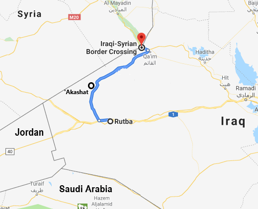 The section of the highway secured by the Popular Mobilization, leading from Rutba to the Al-Qaim crossing (Google Maps)
