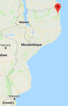 The place where ISIS operatives attacked Mozambican soldiers and a Christian village (Google Maps)
