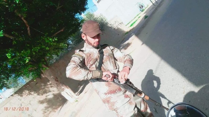 Palestinian terrorist Hani Abu Salah armed and in uniform (Twitter account of Amin al-Wafi from Gaza, August 1, 2019).