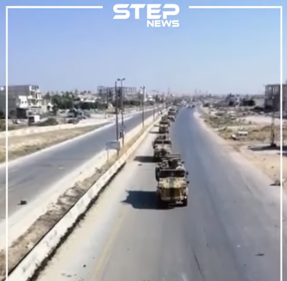 The Turkish army armored convoy north of Khan Sheikhoun (Khutwa, August 19, 2019). It