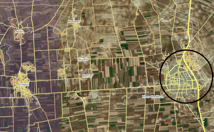 Khan Sheikhoun (circled in black). The M5 passes through it. The villages to the west and southwest of Khan Sheikhoun were captured by the Syrian army during the past two weeks (Wikimapia – Bing Satellite).