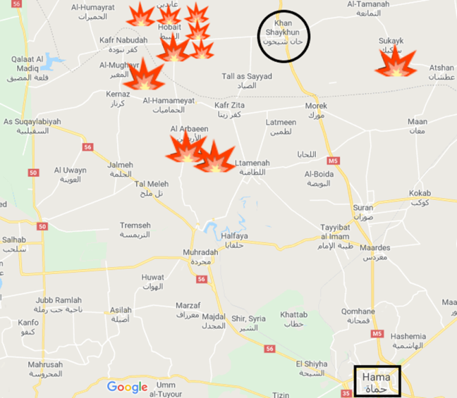 Some of the villages captured by the Syrian army (Google Maps).