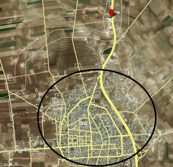 The Nimr roadblock (red location pin) north of Khan Sheikhoun on the highway leading to Aleppo (the M5) (Wikimapia – Bing Satellite)