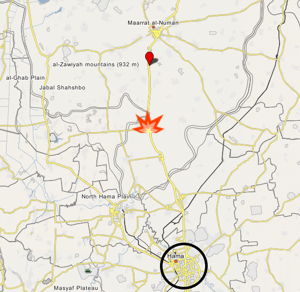 The Ma'r Hatat area, where the Turkish army convoy was attacked (marked with red location pin), to the north of Khan Sheikhoun (marked in orange and yellow) (Wikimapia)
