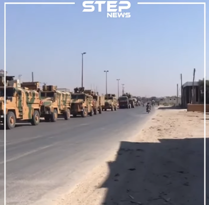 The Turkish military convoy whose advance was halted north of Khan Sheikhoun (Khutwa, August 19, 2019).
