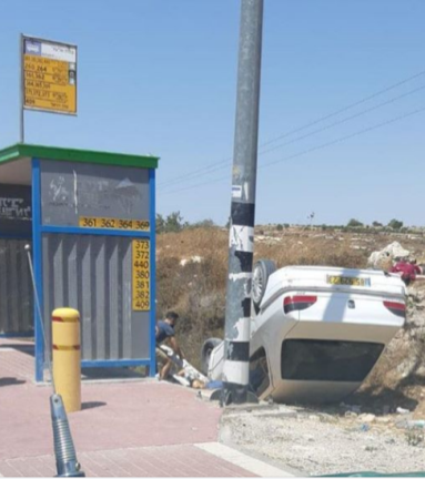The vehicle after the attack (IDF Facebook page, August 16, 2019).