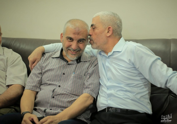 Picture posted to the social networks of Yahya al-Sinwar and Abu Anas al-Ghandour, a senior figure in Hamas' military wing who usually does not appear in the media (Facebook page of journalist Anas al-Sharif, August 15, 2019). The picture was apparently taken during a visit the two made as part of the camp to visit members of the Armilat tribe in the northern Gaza Strip.