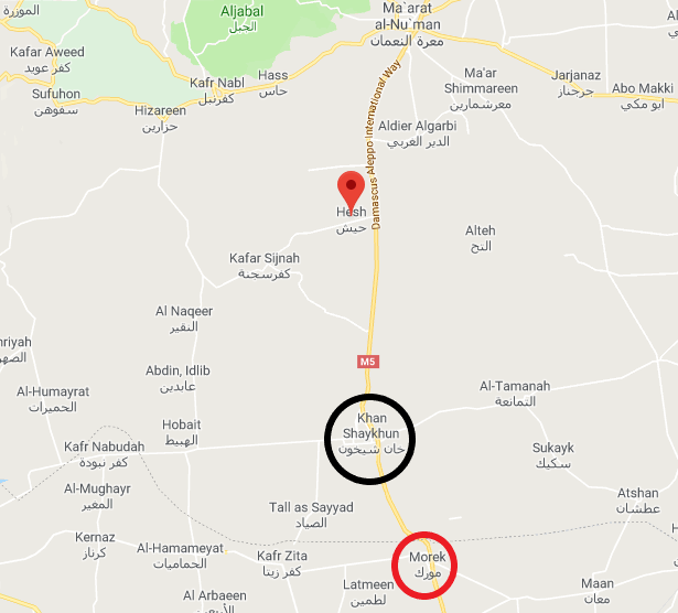 The Heesh area north of Khan Shaykhun, where a new Turkish observation post was set up. This is where the Turkish force arriving in the convoy stopped. Morek is marked (with a red circle) south of Khan Shaykhun. This is the location of Turkish observation post No. 9, which is surrounded by the Syrian army (Google Maps).