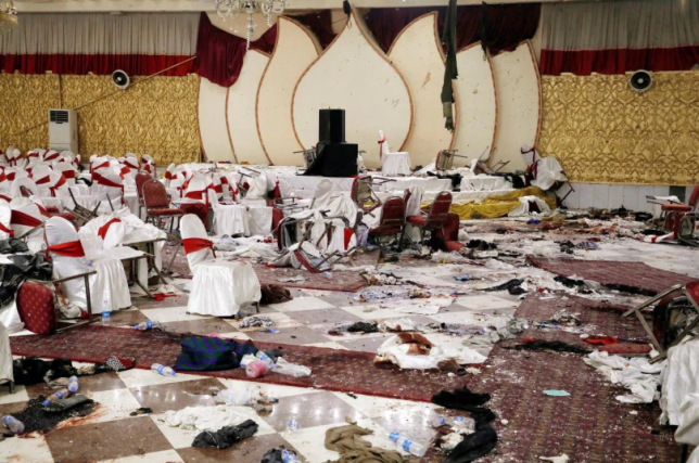 The great devastation caused in the hall where the suicide bombing attack was carried out (AJ@APS_Hindustan Twitter account, Indian PR man and journalist, August 19, 2019)