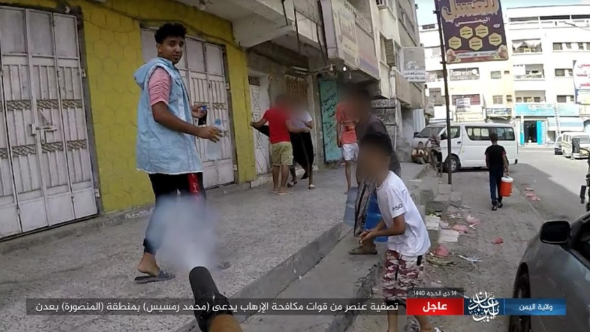 ISIS operative shooting Mohammed Ramsis, a member of the counterterrorism force in Aden (ISIS's Yemen Province, Aden-Abyan Region, August 15, 2019)