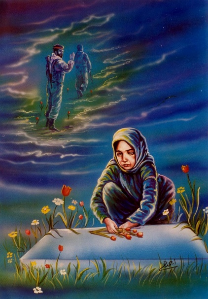 Painting of a mobilized artist in which a relative of a shahid is seen laying flowers on his grave, while his soul ascends to heaven in the background (Ahmad Abdallah's Facebook page).