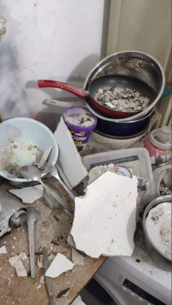 Damage caused by a rocket launched from the Gaza Strip and intercepted by the Iron Dome aerial defense system, in a house under construction in Sderot (Palinfo Twitter account, August 25, 2019)