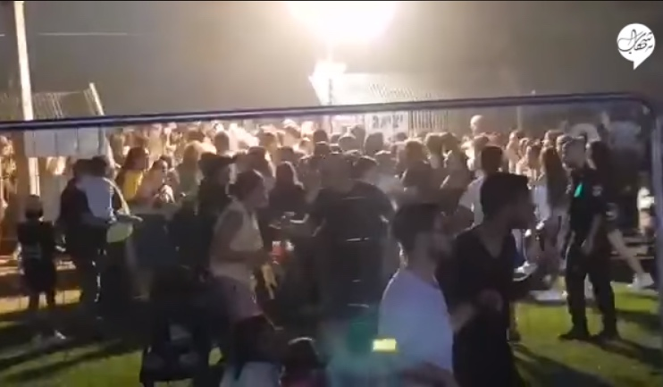 Evacuating the festival in Sderot following the rocket fire (Shehab Facebook page, August 25, 2019).