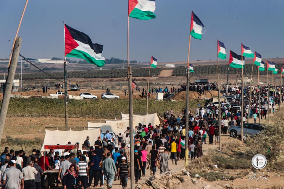 Demonstrators en route to the return march in eastern Gaza City.