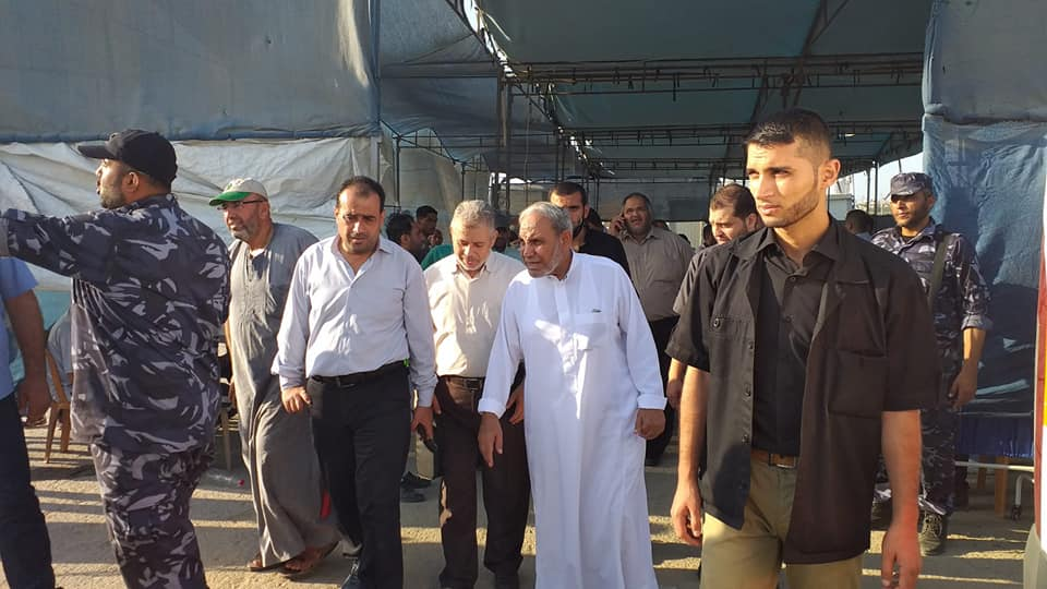 Senior Hamas figure Mahmoud al-Zahar visits the medical tent in the return camp in eastern Gaza.
