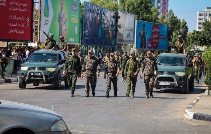 Military display in the Gaza Strip held by operatives of Hamas' national security forces in solidarity with al-Aqsa mosque (website of the ministry of the interior in the Gaza Strip, August 22, 2019).