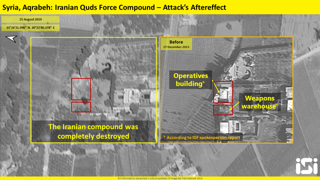 Israeli Air Force attack on the Qods Force facility in Aqrabeh: Before (right) and after (left) the attack (picture courtesy of iSi, ImageSat International)