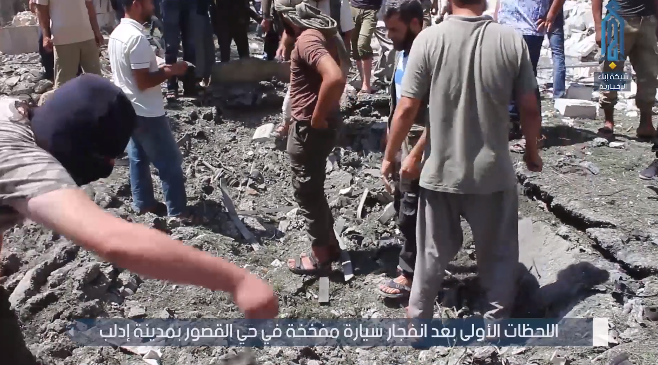 Scene of the explosion of the car bomb in Idlib (Ibaa, August 24, 2019)