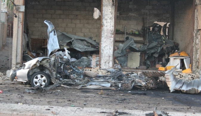 The wreckage of the car bomb that exploded in Tabqa.